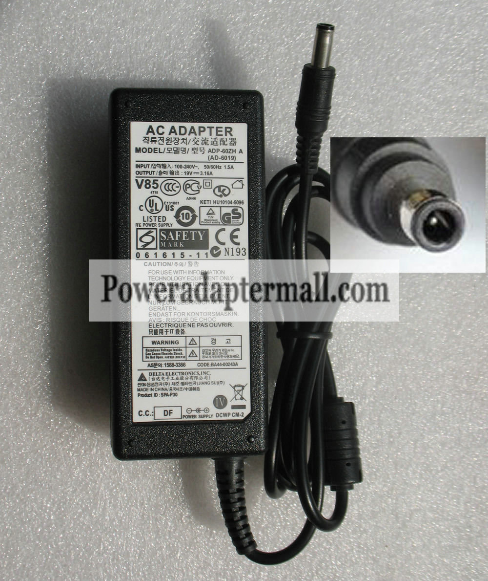 Genuine 19V 3.16A SAMSUNG AD-6019 R458 NP-R458 AC Adapter